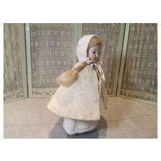 C.1900 Corded Cotton and Silk Mignonette Cape and Bonnet