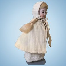 C.1900 Corded Cotton and Silk Mignonette Cape and Bonnet