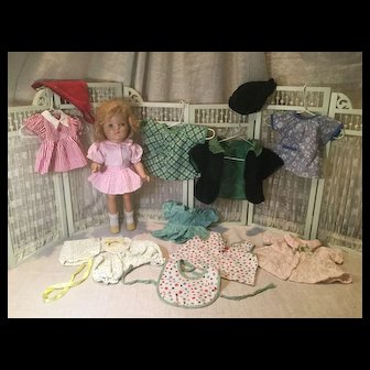 C.1930s Composition Doll and 20 pc. Wardrobe