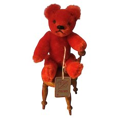 """6"""" Vintage Red Mohair Jointed Teddy Bear  by Grisly"""