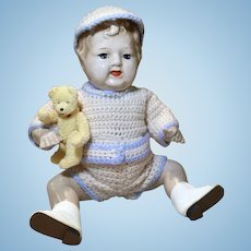1920s Composition Jointed Little Boy Doll