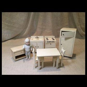 7 Piece Vintage Wooden Dollhouse Kitchen Set