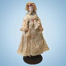 Artist Bisque Head Doll House Lady In OOAK Clothes