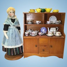 C.1900 Doll Cupboard and Tea Set Collection