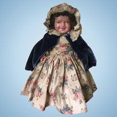 Early 20c. Celluloid Jointed Doll in Chintz Dress
