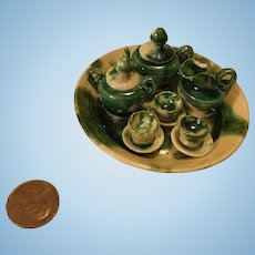 Dollhouse Green Glazed Tea Set