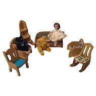 Deco Era Wooden Doll House Living Room Furniture