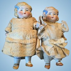Pair of Limbach P15 All Bisque Sister Dolls