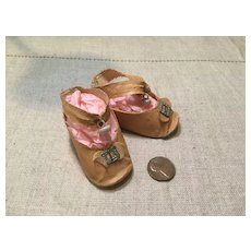 Vintage Pink Oilcloth Shoes with Center Button Closure