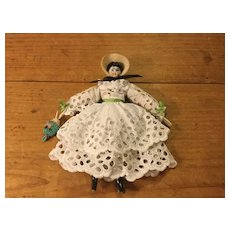 """6"""" Chinahead in Lace Gown-Doll House Size"""