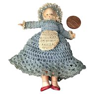"4"" Celluloid Wee Patsy Type in Great Crochet Outfit"