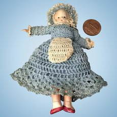 """4"""" Celluloid Wee Patsy Type in Great Crochet Outfit"""