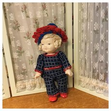 """7"""" Composition Jointed Doll w/Wardrobe-Great Wig"""