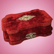 Late 19c. Silk Velvet Presentation Box for Mignonnette