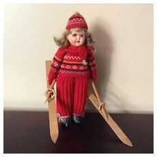 """10"""" All Original Skier with Lovely Celluloid Head"""