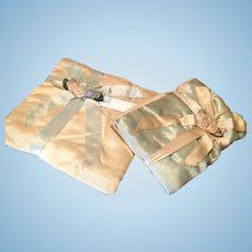 Matching Set of Lingerie/Hankie Cases with Silk Roses