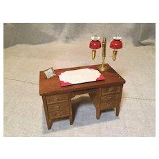 Vintage Doll House Wooden Kneehole Desk, Lamp, Blotter and Calendar