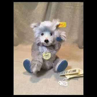 "9"" Re-Issued Steiff Teddy Baby Bear in Blue Mohair"