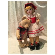 Vintage Cloth Doll w/Handpainted Face & Mohair Wig