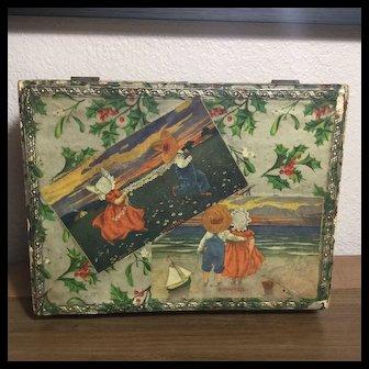 Early 20c. Christmas Presentation Box w/Sunbonnet Babies