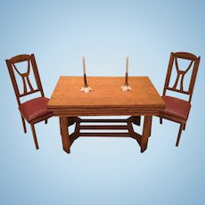 Deco Era German Doll House Dining Table and Chairs