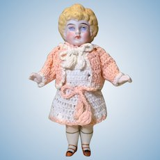 "6"" All Bisque German Doll w/ Molded Hair"