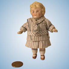 """4"""" German All Bisque Doll House Doll w/Molded Hair"""