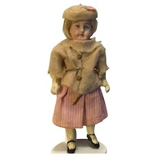 """5"""" Doll House German Bisque Doll & All Original Outfit"""