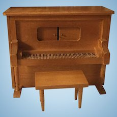 Vintage Doll House Piano and Bench w/Music Box
