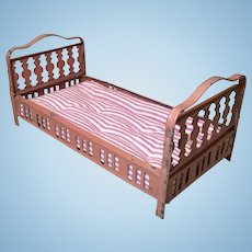 German Tin Plate Doll House Bed + Mattress