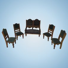 5 Piece German Doll House Parlor set-Fine Upholstery