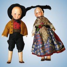 Pair of Hertwig Regionally Dressed Painted Bisque Dolls