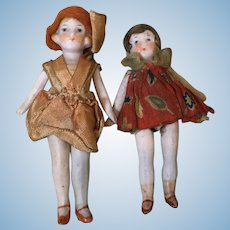 Pair of Hertwig All Bisques in Original Clothes