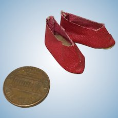 Early 20c. Red Oilcloth Mignonette Shoes