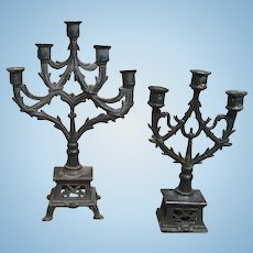 Two Miniature Formal Doll House Candelabras
