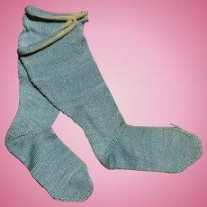 Great c.1900 Burson's Blue Cotton Doll Socks
