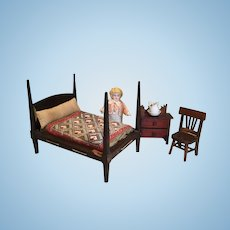 C.1900 Petite High Post Doll's Rope Bed, Orig. Ticking