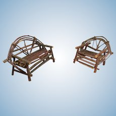 Vintage Adirondack Twig Loveseat and Chair Set