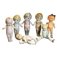 7 Vintage Japanese All Bisque Dolls