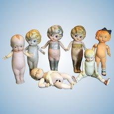 7 Vintage Japanese All Bisque Dolls