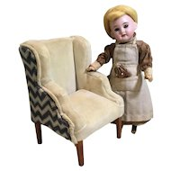 Folkart Small Doll Wing Back Chair with Needlepoint