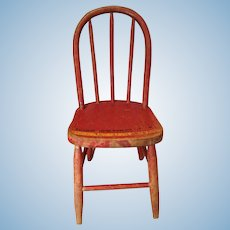 Late 19c. Original Red Paint Doll/Teddy Bear Chair