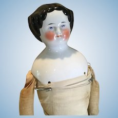 Late 19c. Hi Brow China Head Doll - Needs TLC