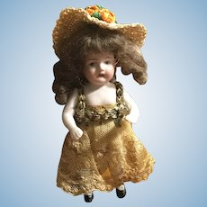 """5"""" German All Bisque w/Mohair Wig"""