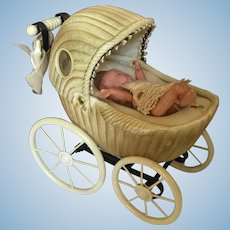 Wonderful Celluloid Doll Carriage with Moving Baby Within