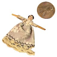 "Tiny 1-3/8"" Wooden Jointed Doll"