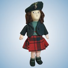 "16"" Vintage All Cloth Scottish Girl Doll"