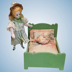 Deco Era German Doll House Bed and Dressings