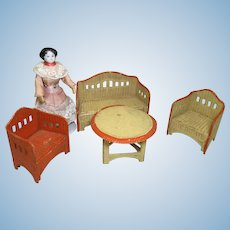 4 Piece German Korbi Faux Wicker Dollhouse Set