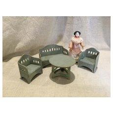 Early 20c. German Korbi Faux Wicker Doll House Porch Set